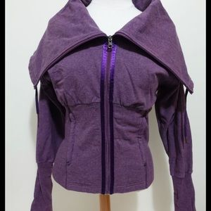 Vintage Lululemon Purple Cowl Neck Zip Sweater 10
